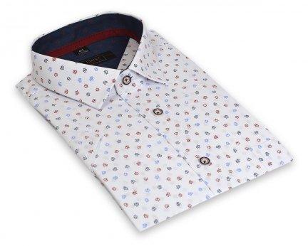 c70799d8d899e6 Koszula męska Slim biała w kolorowe listki - Krótki rękaw