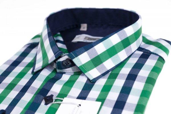 Koszula z długim rękawem Slim Fit/Slim Line - w zielono-granatowo-białą kratkę