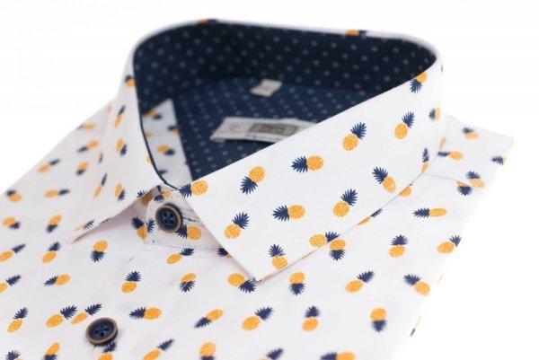 Koszula męska Slim - biała w ananasy