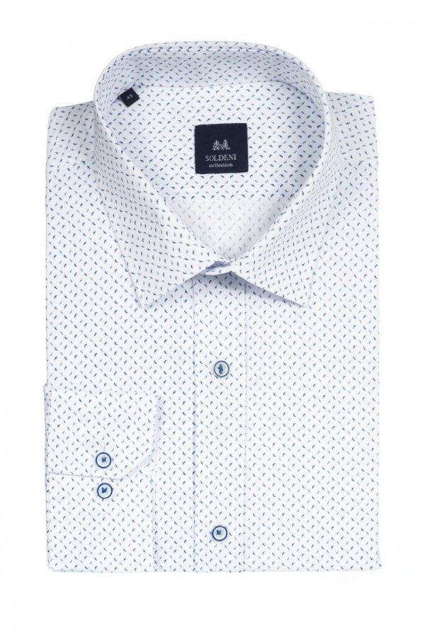 Koszula męska slim - biała w szafirowo-niebieski wzór