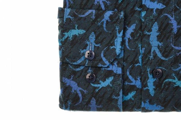 Koszula męska Slim - granatowa w niebieskie jaszczurki