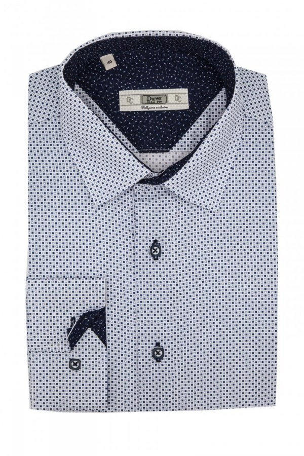 Koszule Slim - biała w granatowy wzorek