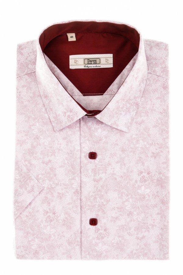Koszula męska Slim - biała w czerwony wzór
