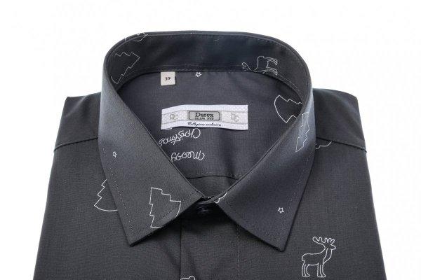 Koszula męska XXXL - grafitowa w świąteczny wzór