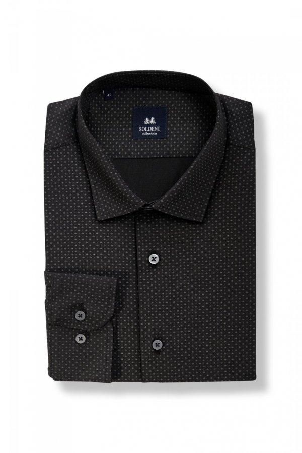 Koszula męska Slim - czarna w siwy wzór