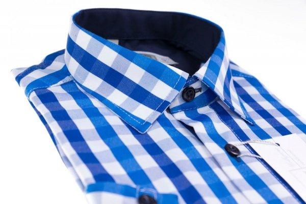 Koszula długi rękaw Slim Fit / Slim Line - w niebiesko-białą kratę