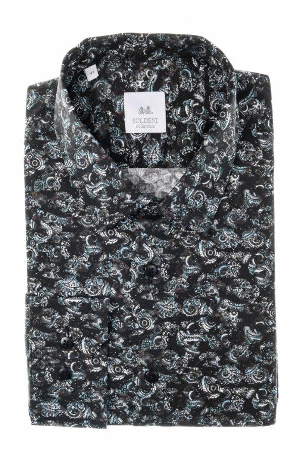 Koszula męska Slim - czarna we wzorek
