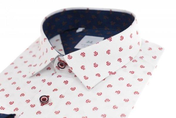 Koszula męska Slim - biała w czerwony wzorek