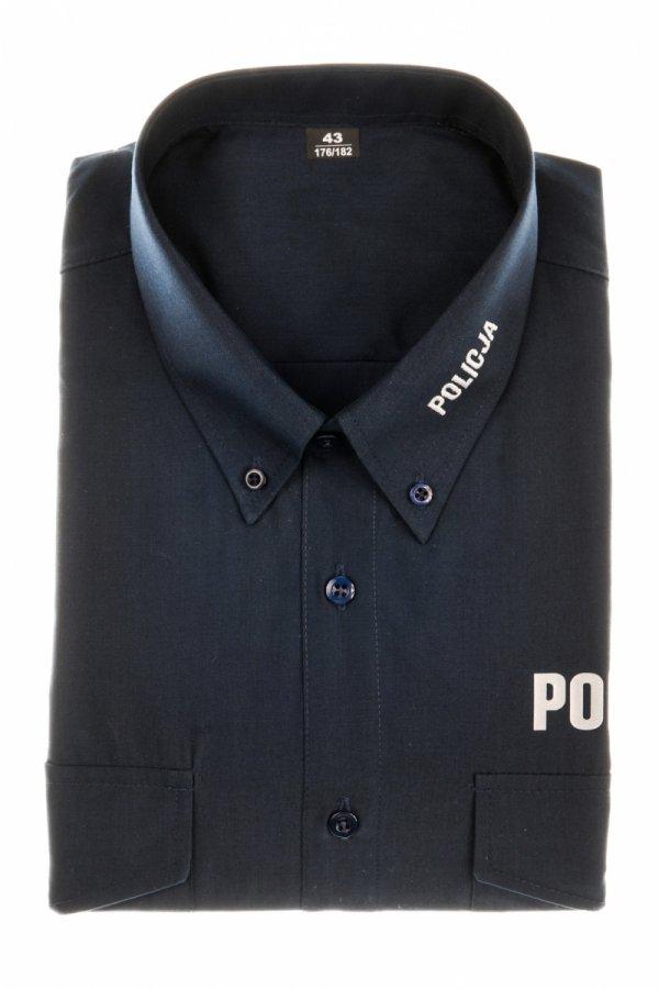Koszula policyjna granatowa - tkanina typu oxford krótki rękaw
