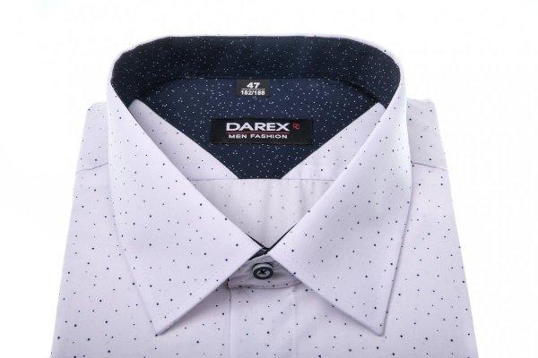 Koszula męska XXXL - biala w granatowe kropeczki