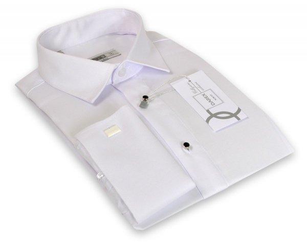 Koszula męska Slim - biała z ozdobnymi guzikami