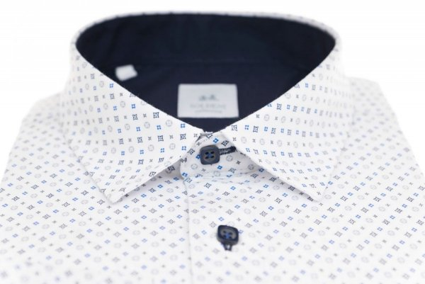 Koszula męska Slim - biała we wzorek