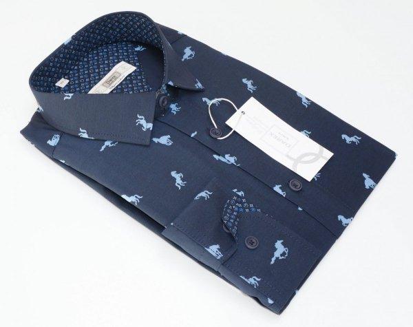 Koszula męska Slim - granatowa w niebieskie konie