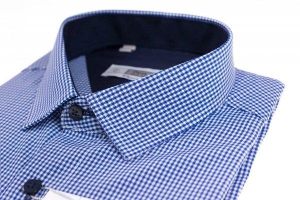 Koszula męska Slim - biała w niebieską drobną krateczkę