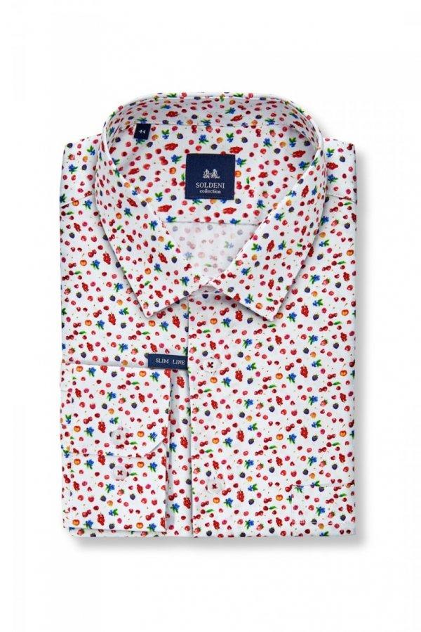 Koszula męska Slim - biała w drobny wzór - owoce