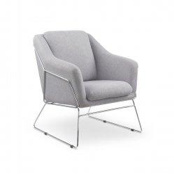 Fotel wypoczynkowy SOFT jasny popielaty/chrom