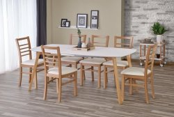 Stół rozkładany KAJETAN 135(185)x82 biały/dąb miodowy