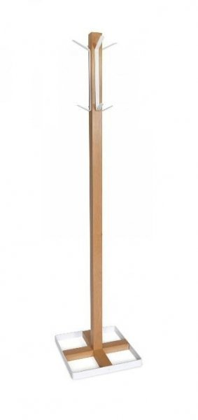 Wieszak stojący drewno/metal CLINT 4 buk/biały