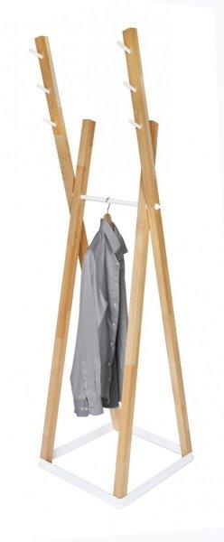 Wieszak stojący drewno/metal COMBO C-3 buk/biały