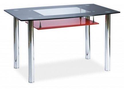 Stół TWIST A czarny z czerwoną półką