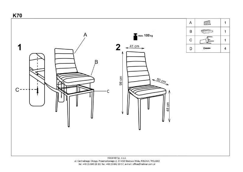 Krzesło K70C popielate