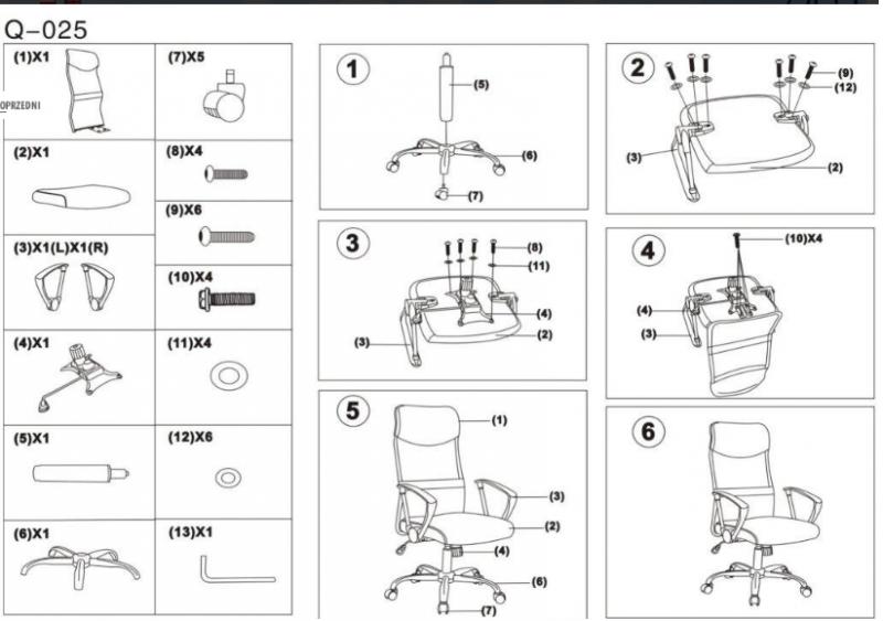Fotel obrotowy Q-025 niebiesko-czarny