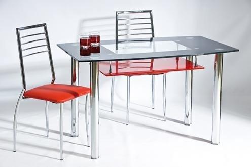 Stół TWIST A czarny z czerwoną półką/chrom