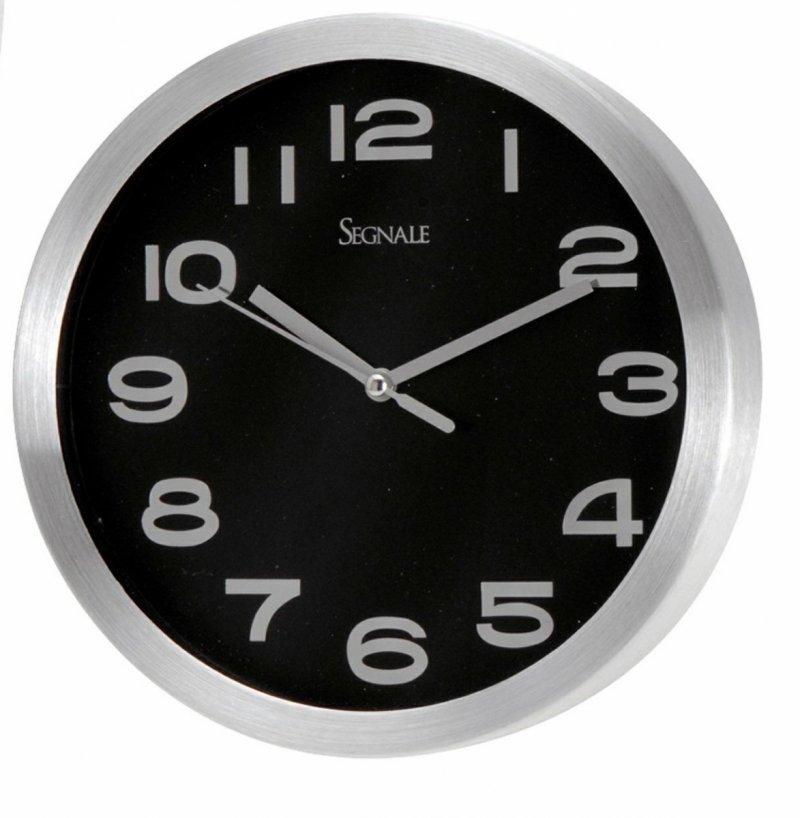 Zegar wiszący AGO chrom/czarny