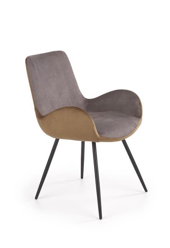 Krzesło K392 VELVET popielato-brązowe