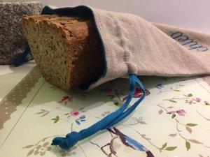 Worek lniany na chleb (turkus)