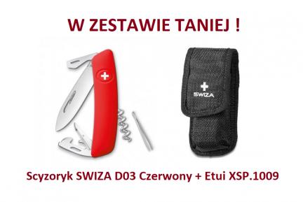 Scyzoryk SWIZA D03 Czerwony KNI.0030.1000 + Etui XSP.1009