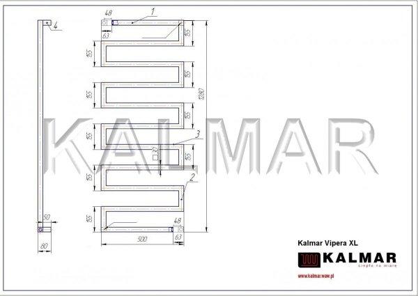 Grzejnik Kalmar Radiators VIPERA 1280x500 INOX POLER moc 507W