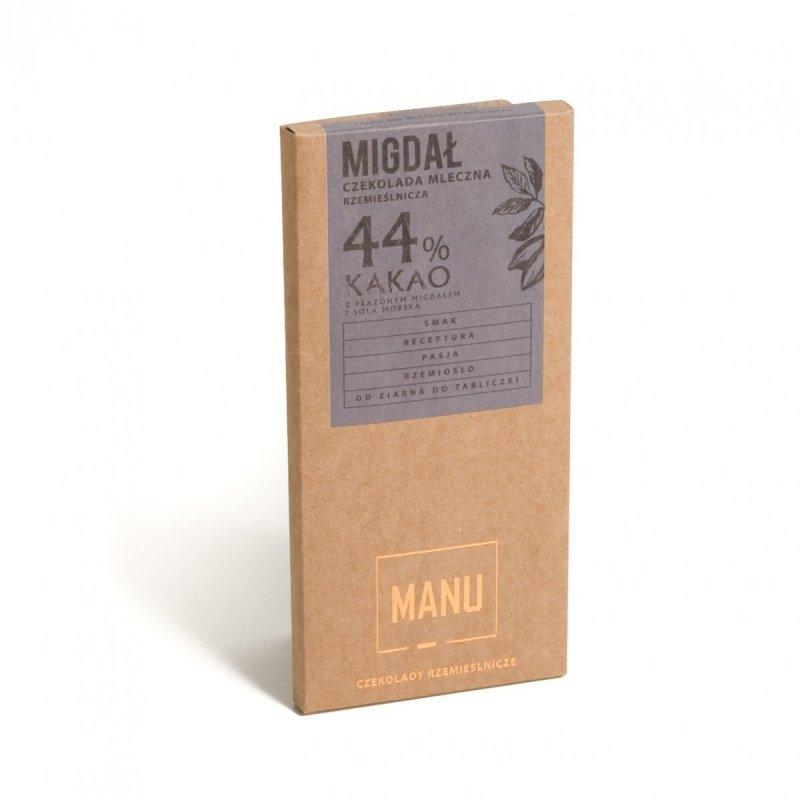 MANU Migdał i sól morska czekolada mleczna 44% 60g