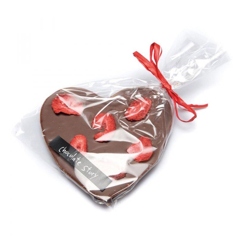 Czekoladowe SERCE z mlecznej czekolady z truskawkami 75g