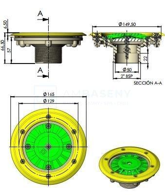 """Dysza napływowa wlot denny - 2"""" / 50 mm - 00340 Astralpool"""