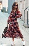 Elegancka sukienka midi w kolorowe kwiaty 0304/R79