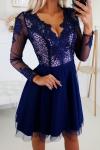 Granatowa sukienka wieczorowa z tiulem 2160-11-2