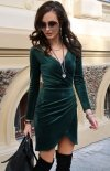 Elegancka kopertowa sukienka zielona 0308-1