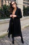 Długi płaszcz z wiązaniem czarny 0017-1