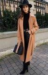 Długi płaszcz z wiązaniem karmelowy 0017-2