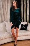 Wieczorowa zielona sukienka z bufkami 270-1