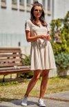 Modna luźna sukienka w paski beżowe M205-1