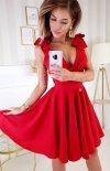Wizytowa sukienka z kokardkami  czerwona 2209-02