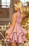 Rozkloszowana sukienka z koronką 200-10 Charlotte Numoco tył