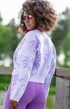 Krótki sweterek na guziczki fioletowy F1240 tył