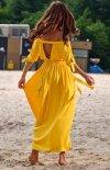 Sukienka maxi hiszpanka żółta A357 tył