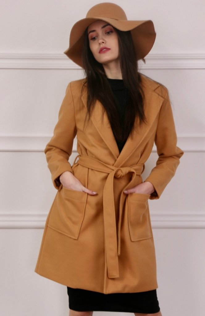 Wiązany płaszcz wiosenny karmelowy ciemny Roco 007