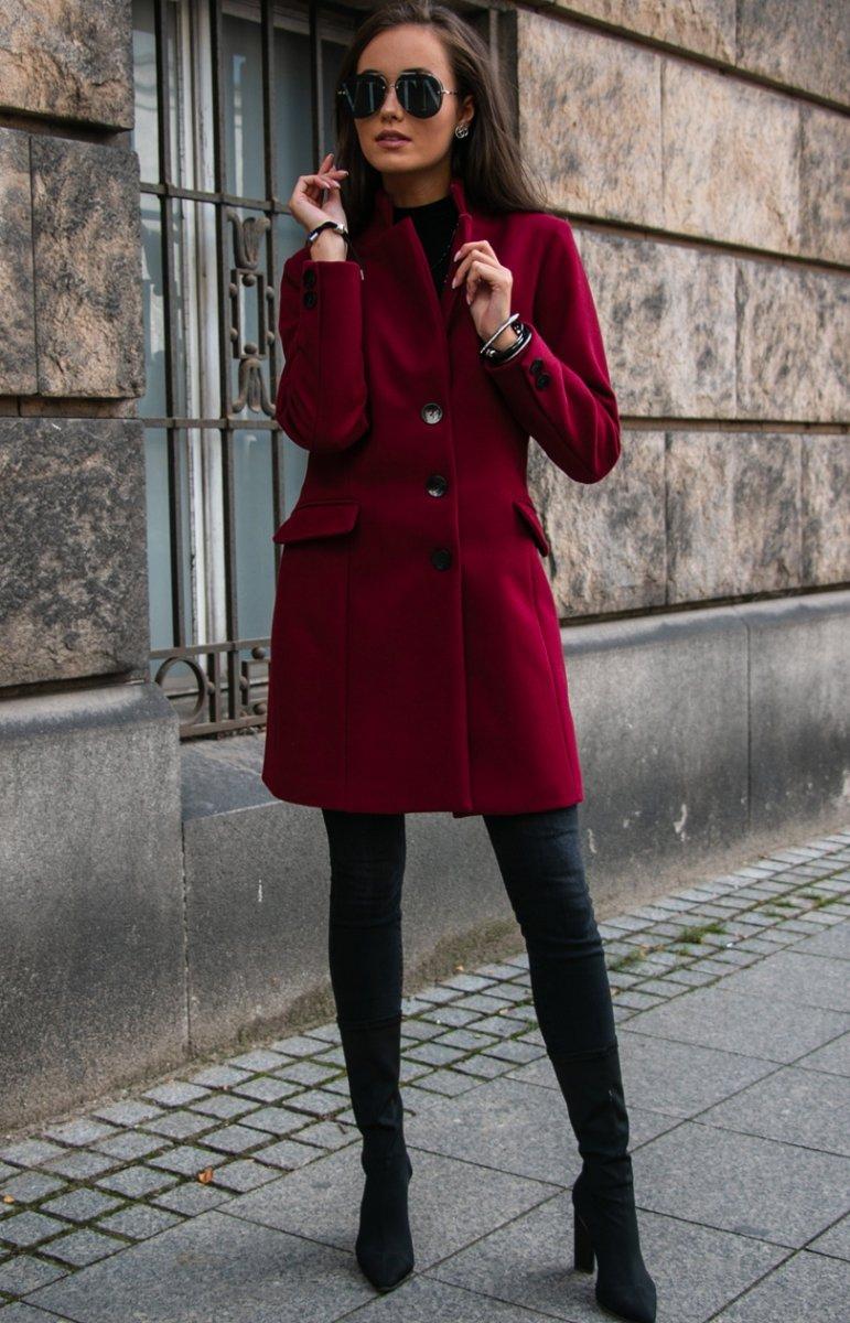 Wełniany płaszcz bordowy Roco P012 Płaszcze i Kurtki