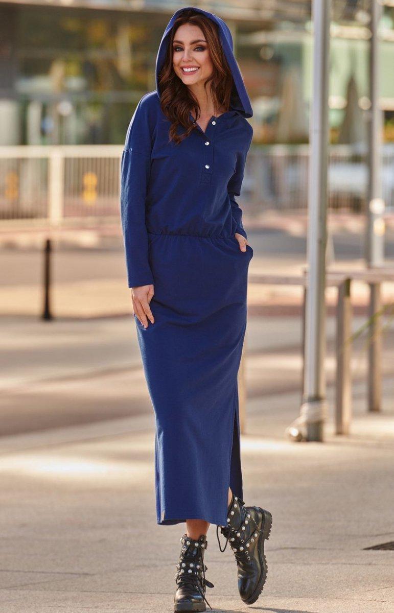 65c695521a Dresowa sukienka MAXI z kapturem L287 granatowa - Sklep Intimiti.pl