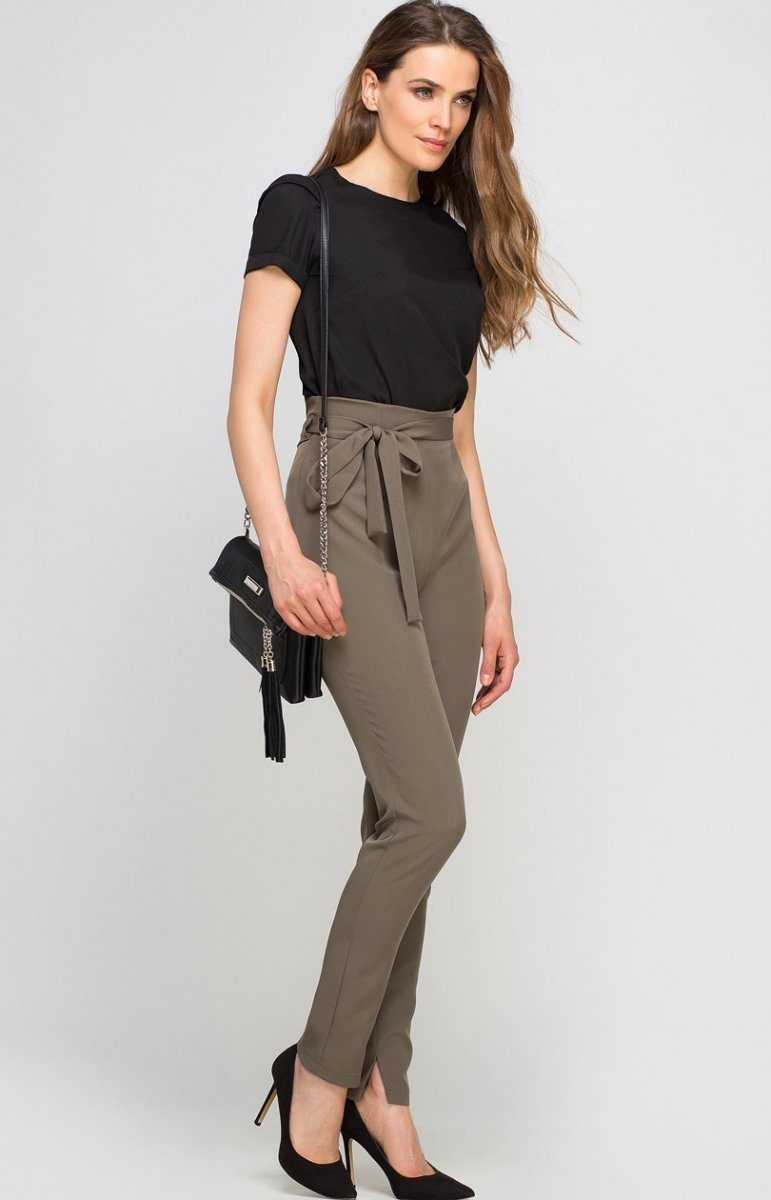 2648e02320b28a Lanti SD113 spodnie khaki - Eleganckie spodnie damskie - Modne ...